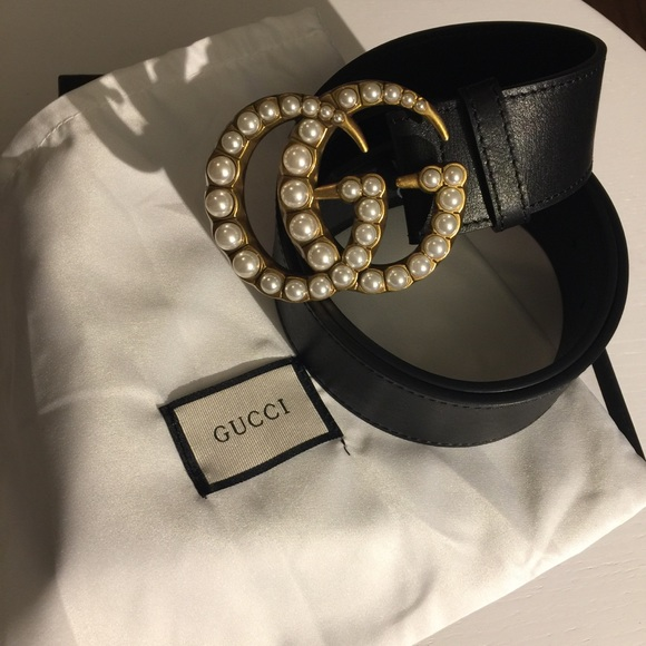 49ac8a0ce7a Gucci leather belt with pearl double G